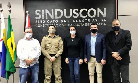 SINDUSCON COSTA ESMERALDA RECEBE VISITA DO NOVO COMANDANTE DA PM
